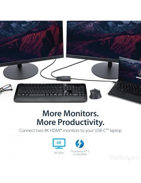 StarTech.com 2-Port Multi Monitor Adapter - USB-C to 2x HDMI Video Splitter USB Type-C MST Hub Dual 4K 30Hz or 1080p 60Hz Starte