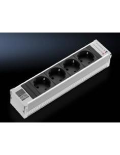 Rittal DK 7856.100 jatkojohto 4 AC-pistorasia(a) Sisätila Alumiini, Musta Rittal 7856100 - 1