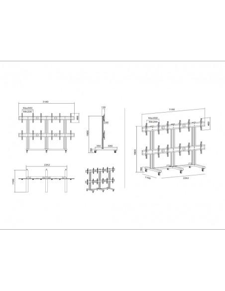 "Multibrackets M Public Video Wall Stand 6-Screens 40-55"" Black Multibrackets 7350022739727 - 18"