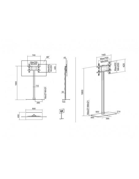"""Multibrackets 2418 kyltin näyttökiinnike 160 cm (63"""") Hopea Multibrackets 7350073732418 - 19"""