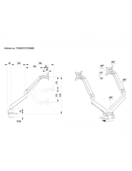 Multibrackets M VESA Gas Lift Arm Dual Side by White Multibrackets 7350073733989 - 20