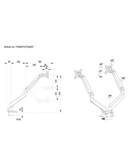 Multibrackets M VESA Gas Lift Arm Dual Side by HD Black Multibrackets 7350073734207 - 21