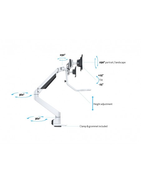 """Multibrackets 6379 monitorin kiinnike ja jalusta 71.1 cm (28"""") Puristin Valkoinen Multibrackets 7350073736379 - 17"""