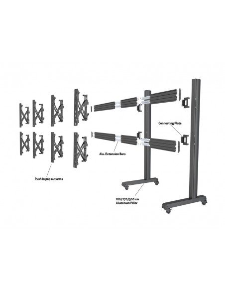 Multibrackets M Pro Series - Wheelbase 300cm inc castors Multibrackets 7350073736614 - 9