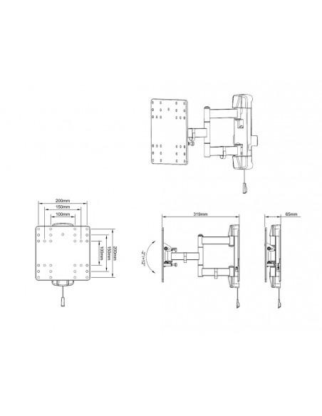 """Multibrackets 6843 TV-kiinnike 109.2 cm (43"""") Musta Multibrackets 7350073736843 - 13"""