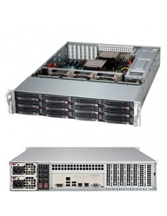 Supermicro 6028R-E1CR12T Intel® C612 LGA 2011 (Socket R) Rack (2U) Svart, Grå Supermicro SSG-6028R-E1CR12T - 1